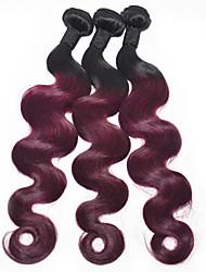 14inch Ombre наращивание волос 3pieces / много 1b / 99j объемная волна человеческих волос ткет перуанских девственных волос