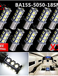 10x super luminoso ba15s blancos dirección trasero 1156 coche señal luminosa 18 LED 12V SMD