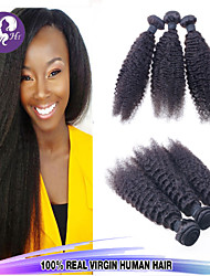3PCS/LOT Brazilian Virgin Hair Kinky Straight Unprocessed Human Hair Brazillian yaki Straight Hair Coarse Yaki