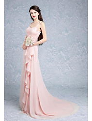 Sweep / Brush Train Spaghetti Straps Bridesmaid Dress - Elegant Sleeveless Chiffon