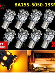 8x ba15s amarillo 1156 revertir 13 bulbos de señales de luz de dirección traseros del coche SMD LED rv