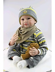 NPKDOLL Reborn Baby Doll Soft Silicone 22inch 55cm Magnetic Mouth Lovely Lifelike Cute Boy Girl Toy Brown Bear
