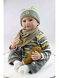 npkdoll возрождается кукла мягкая силиконовая 22inch 55см магнитного рот прекрасный реалистично милый мальчик девочка игрушка бурого