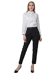 Women Solid Pants Press Stud Closure Slant Pocket Lady Causal Loose Trousers