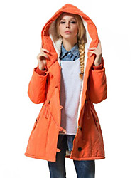 Women's Handsome Hoodies Fleece Lining Long Sleeve Loose Parka Coat