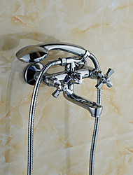Contemporary Style Chrome Finish Solid Brass Bathroom Faucets Wall Mounted Shower Mixer Tap K3076