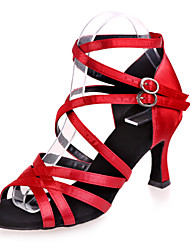 Non Customizable Women's Dance Shoes Satin Satin Latin Sandals Flared Heel Practice / Indoor / PerformanceBlack / Brown / Red / Silver /