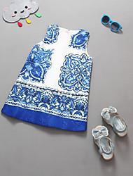Girl's Blue / White Dress , Floral Cotton / Linen Summer / Spring / Fall/Sleeveless
