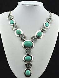 Vintage Look Antique Silver Plated Oval Cz Crystal Turquoise Stone Necklace Pendant(1PC)