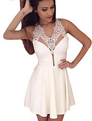 Women's Lace White Dress,Party V Neck Sleeveless