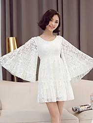 Women's New Fashion Lace High Waist Bodycon Chiffon Mandarin Sleeve Dress