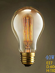 A19 Straight Wire 220V-240V E27 40W Tungsten Bulb Edison Modern Popular