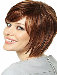 NewProduct Brown Short Straight  Hair Syntheic  Wig