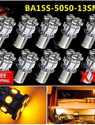 10x ba15s amarillo 1156 revertir 13 bulbos de señales de luz de dirección traseros del coche SMD LED rv