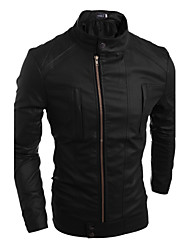 Men's Casual Oblique Zipper PU Leather Leather Jacket , Lined