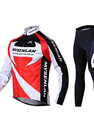 MYSENLAN® Cycling Jersey with Tights Men's Long Sleeve BikeThermal / Warm / Windproof / Fleece Lining / Wearable / 3D Pad / Reflective