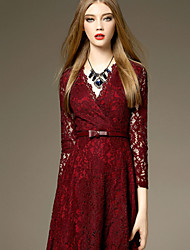 Women's Party/Cocktail Sexy Sheath Dress,Patchwork V Neck Maxi Long Sleeve Red Cotton Summer
