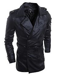 Men's Fashion Slim Epaulets Double Breasted Motorcycle Leather Jacket , Lined