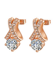 HKTC Clear Crystal Jewelry 18k Rose Gold Plated X Style Cubic Zirconia Diamond Stud Earrings