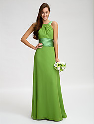 Lanting Bride® Floor-length Chiffon Bridesmaid Dress - Sheath / Column Straps with Sash / Ribbon / Ruching