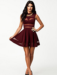 Women's Patchwork Red / Black Dresses , Sexy Round Sleeveless