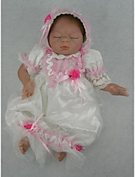 NPKDOLL Reborn Baby Doll Soft Silicone 22inch 55cm Magnetic Mouth Lifelike Cute Lovely Toy Sleeping Baby White