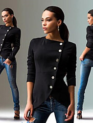 LYOU  Women's Solid Color Red / Black / Brown Coats & Jackets , Sexy / Bodycon / Casual / Party Round Long Sleeve