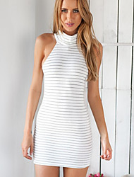 Women's Turtleneck Vestidos Sexy Off Shoulder White Black Striped Dress