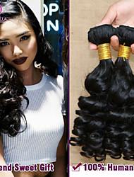 """1pc / lot 8 """"-30"""" 7a brasilianisches reines remy lockige weben brasilianisches reines Romanze lockiges Haar # 1b (natürliche Farbe) mtbw49"""