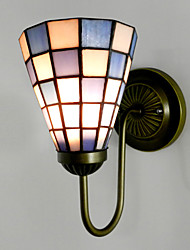 15CM Contemporary And Contracted Stained Glass Lamp Wall Lamp Inn Blue And White Squares Led Lights
