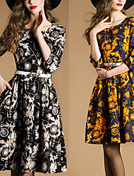 OuYa Women's Print Black / Yellow Dresses , Casual / Party Round Long Sleeve