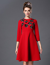 2016 Spring Women Dress Bead Vintage Fashion Elegant Plus Size 3/4 Sleeve Dress Green/Red