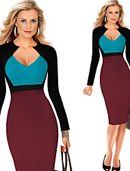 Milliya Women's Vintage/Sexy/Casual/Party Long Sleeve Dresses (Cotton Blend)