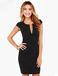 Women's Solid Color Black Dresses , Bodycon V-Neck Short Sleeve