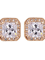 HKTC Concise Square Crystal Simulated Diamond Stud Earrings Made with Austrian Crystal Stellux Jewelry