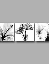 "Ready to Hang Stretched Hand-painted Oil Painting 72""x24"" Three Panels Canvas Wall Art Grey Flowers Modern"