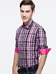 JamesEarl Hommes Col de Chemise Manche Longues Shirt et Chemisier Rose - DA112047332