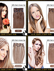 "Long 16""-24"" Full Head Clips in 100% Remy Human Hair Extensions 15 Colors Choose"