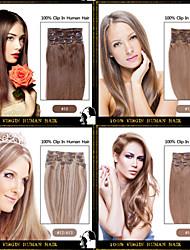 """длиной 16 """"-24"""" полные клипы голова в 100% Remy человеческих волос 15 цветов выбрать"""