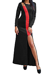Women Low-Cut Dress Contrast Color O-Neck Long Sleeve Irregular Hem Long Slit Dress