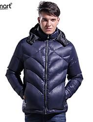 Lesmart Hombre Escote Chino Manga Larga Abajo y abrigos esquimales Azul Oscuro - MDME10403