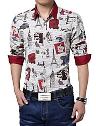 Men's Fashion Retro Cotton Linen Print Slim Fit Long-Sleeve Shirt