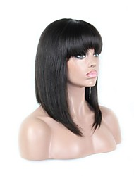 Fashion Style 150 Density Silky Straight Human Hair Short Bob Lace Front Wig In Stock