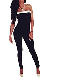 Women's Patchwork Black Jumpsuit,Sexy Strapless