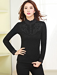 Women's Solid / Lace White / Black OL Style Slim Blouse , Stand Long Sleeve