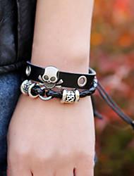 Муж. Кожаные браслеты Сплав Кожа В форме черепа Черный Бижутерия 1шт