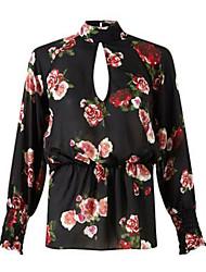 Women's Floral Multi-color Blouse , Round Neck Long Sleeve