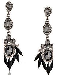 Drop Earrings Gemstone Simulated Diamond Alloy Fashion Leaf Drop Screen Color Jewelry 2pcs