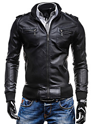 Men's Casual Multi-Pocket PU Leather Jacket , Lined