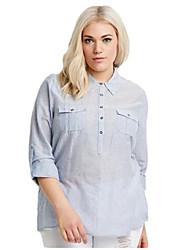 De las mujeres Camisa - En Capas Escote Chino - Poliéster - Manga Larga